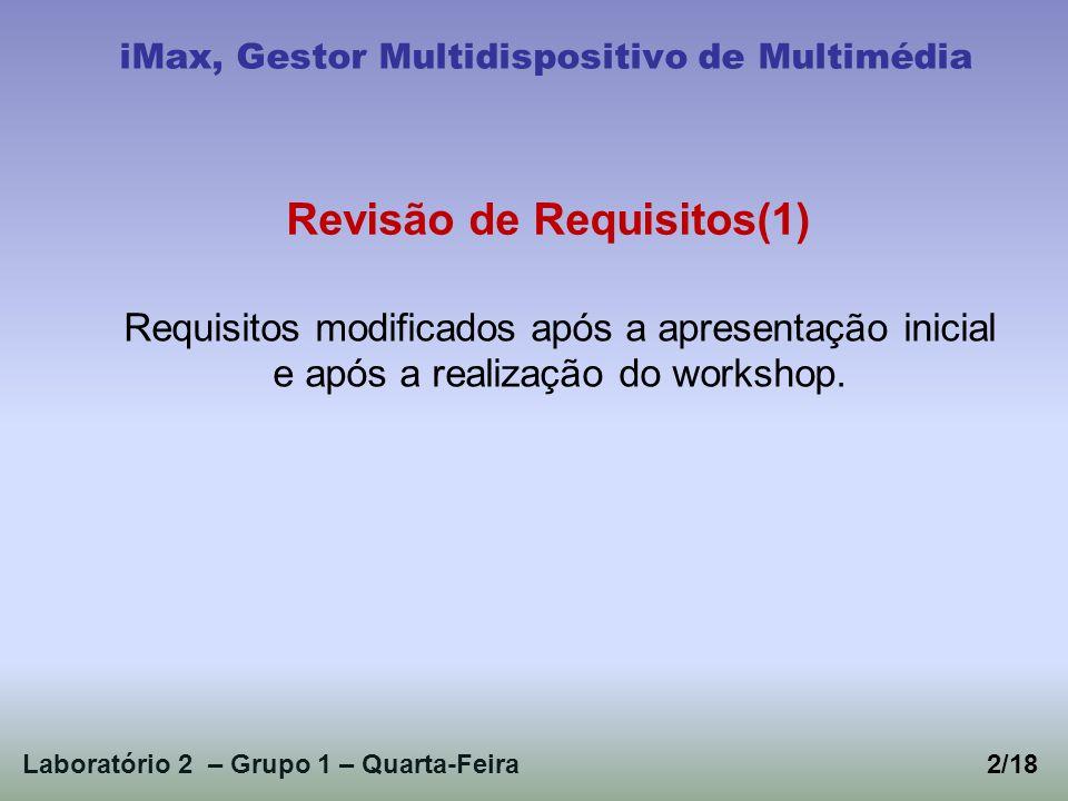 Requisitos modificados após a apresentação inicial e após a realização do workshop. Laboratório 2 – Grupo 1 – Quarta-Feira2/18 iMax, Gestor Multidispo