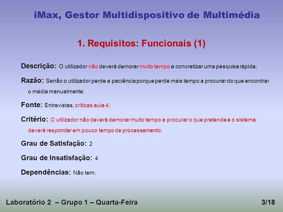Laboratório 2 – Grupo 1 – Quarta-Feira3/18 iMax, Gestor Multidispositivo de Multimédia 1. Requisitos: Funcionais (1) Descrição: O utilizador não dever