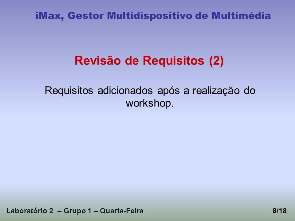 Laboratório 2 – Grupo 1 – Quarta-Feira8/18 iMax, Gestor Multidispositivo de Multimédia Requisitos adicionados após a realização do workshop. Revisão d
