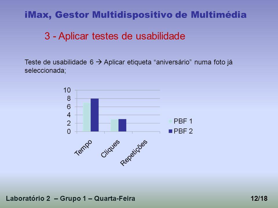 Laboratório 2 – Grupo 1 – Quarta-Feira12/18 iMax, Gestor Multidispositivo de Multimédia 3 - Aplicar testes de usabilidade Teste de usabilidade 6 Aplicar etiqueta aniversário numa foto já seleccionada;