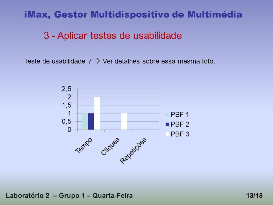 Laboratório 2 – Grupo 1 – Quarta-Feira13/18 iMax, Gestor Multidispositivo de Multimédia 3 - Aplicar testes de usabilidade Teste de usabilidade 7 Ver detalhes sobre essa mesma foto;