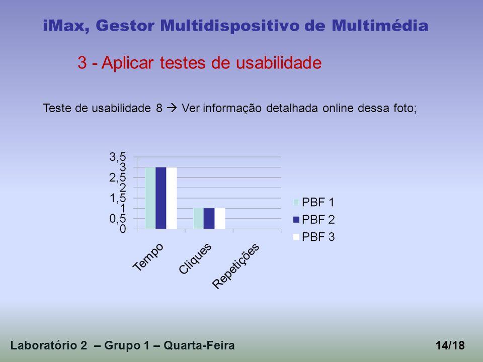 Laboratório 2 – Grupo 1 – Quarta-Feira14/18 iMax, Gestor Multidispositivo de Multimédia 3 - Aplicar testes de usabilidade Teste de usabilidade 8 Ver informação detalhada online dessa foto;