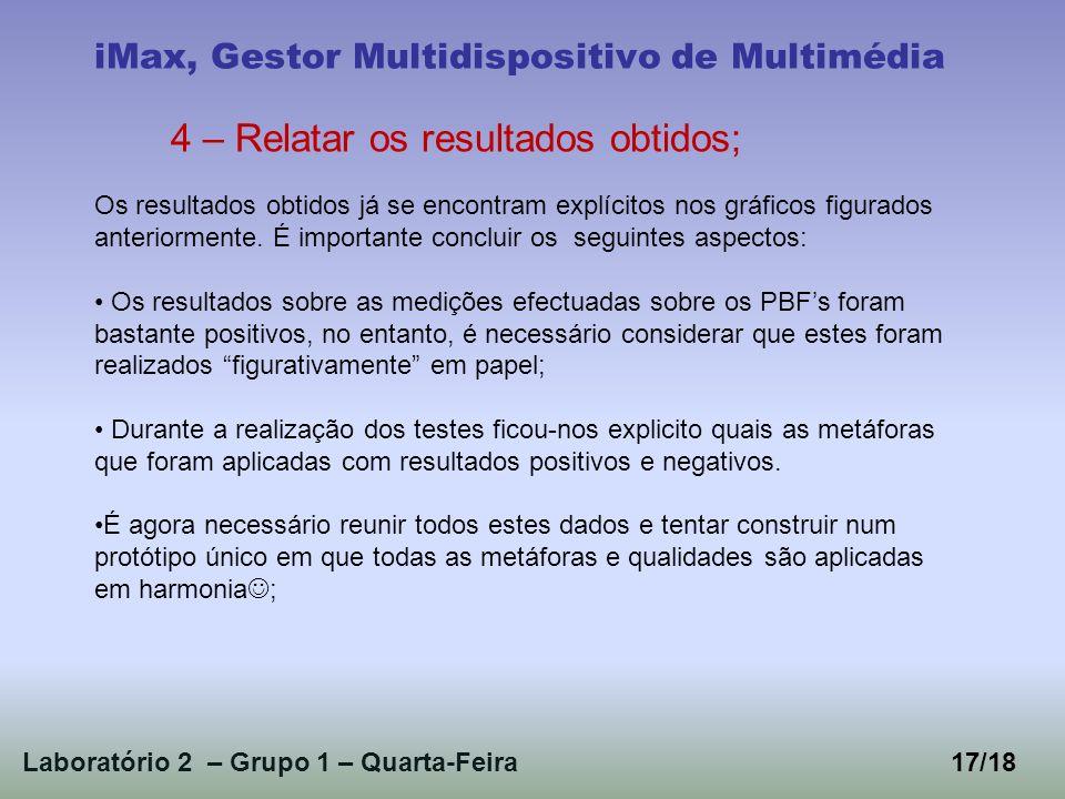 Laboratório 2 – Grupo 1 – Quarta-Feira17/18 iMax, Gestor Multidispositivo de Multimédia 4 – Relatar os resultados obtidos; Os resultados obtidos já se encontram explícitos nos gráficos figurados anteriormente.