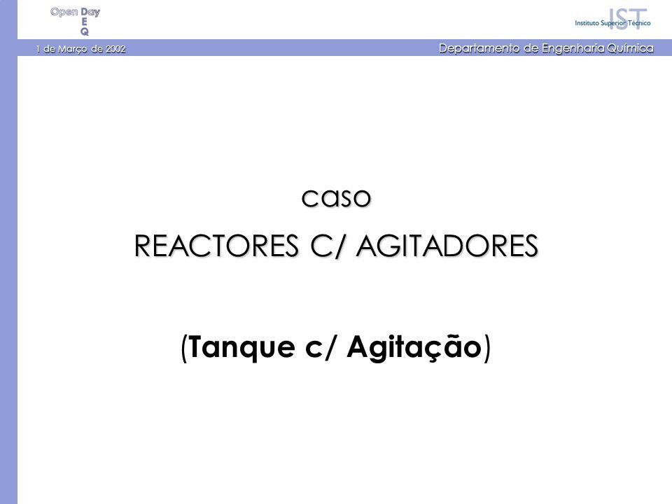 1 de Março de 2002 Departamento de Engenharia Química caso REACTORES C/ AGITADORES ( Tanque c/ Agitação )
