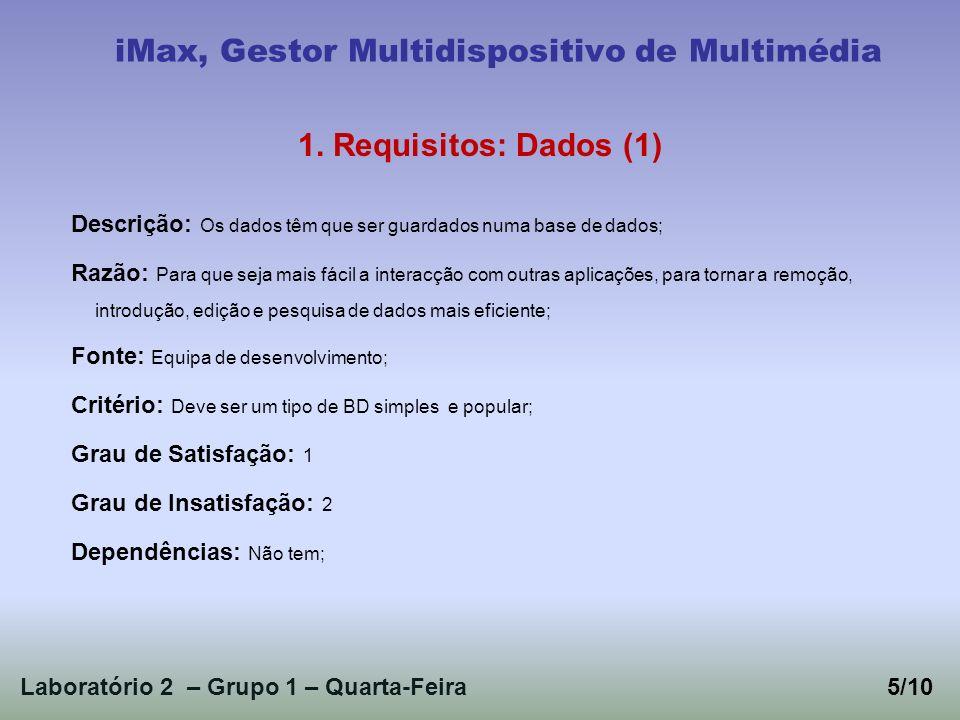 Laboratório 2 – Grupo 1 – Quarta-Feira5/10 iMax, Gestor Multidispositivo de Multimédia 1.