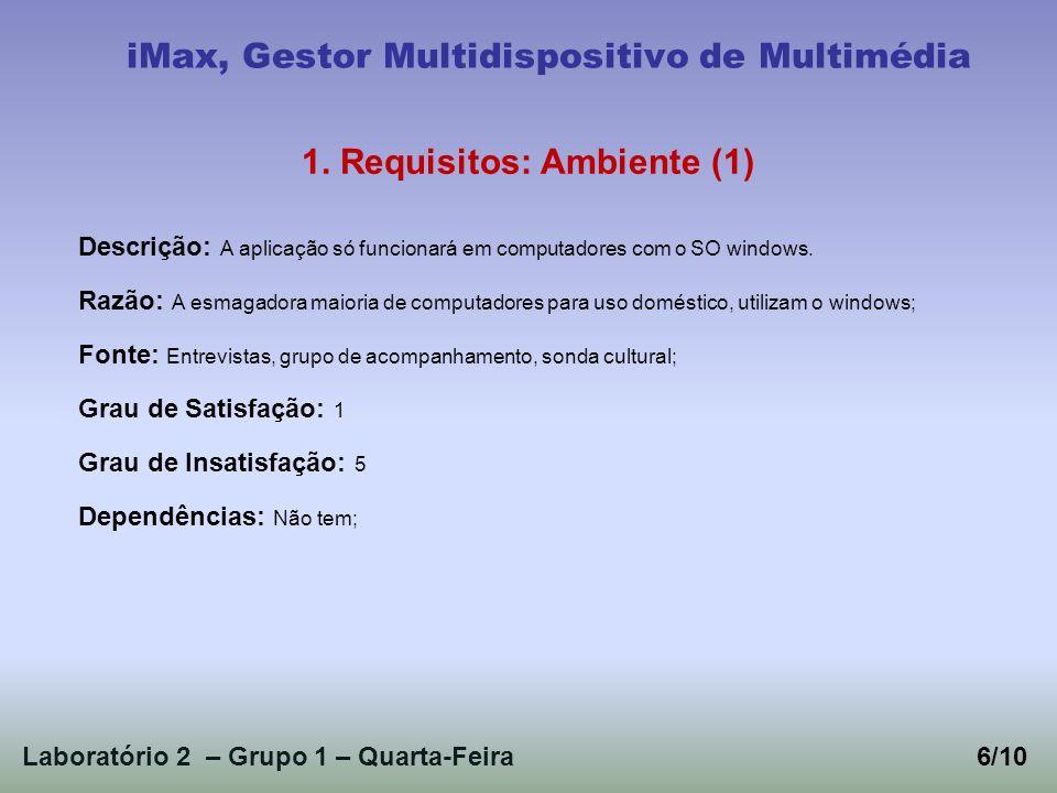 Laboratório 2 – Grupo 1 – Quarta-Feira6/10 iMax, Gestor Multidispositivo de Multimédia 1.
