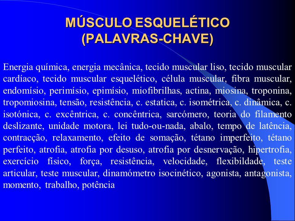 MÚSCULO ESQUELÉTICO (PALAVRAS-CHAVE) Energia química, energia mecânica, tecido muscular liso, tecido muscular cardíaco, tecido muscular esquelético, c
