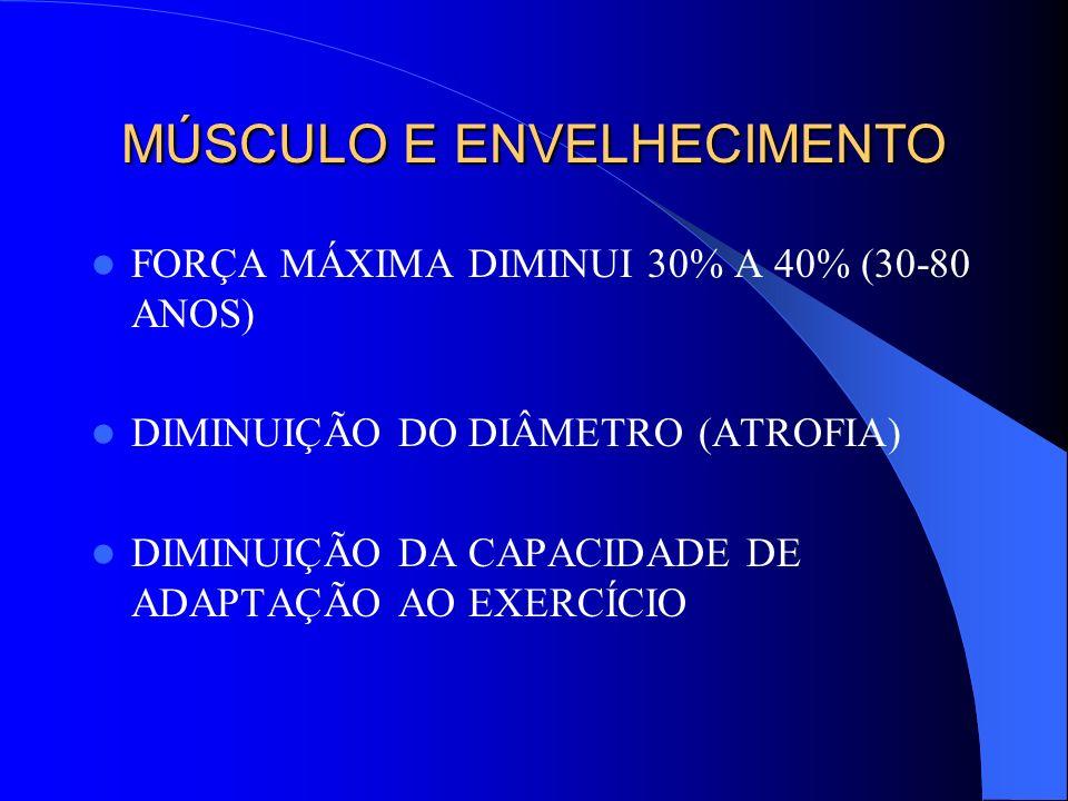 MÚSCULO E ENVELHECIMENTO FORÇA MÁXIMA DIMINUI 30% A 40% (30-80 ANOS) DIMINUIÇÃO DO DIÂMETRO (ATROFIA) DIMINUIÇÃO DA CAPACIDADE DE ADAPTAÇÃO AO EXERCÍC
