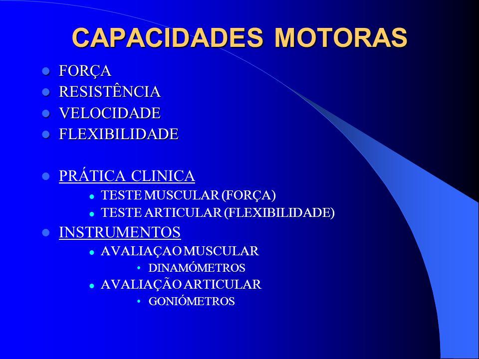 CAPACIDADES MOTORAS FORÇA FORÇA RESISTÊNCIA RESISTÊNCIA VELOCIDADE VELOCIDADE FLEXIBILIDADE FLEXIBILIDADE PRÁTICA CLINICA TESTE MUSCULAR (FORÇA) TESTE