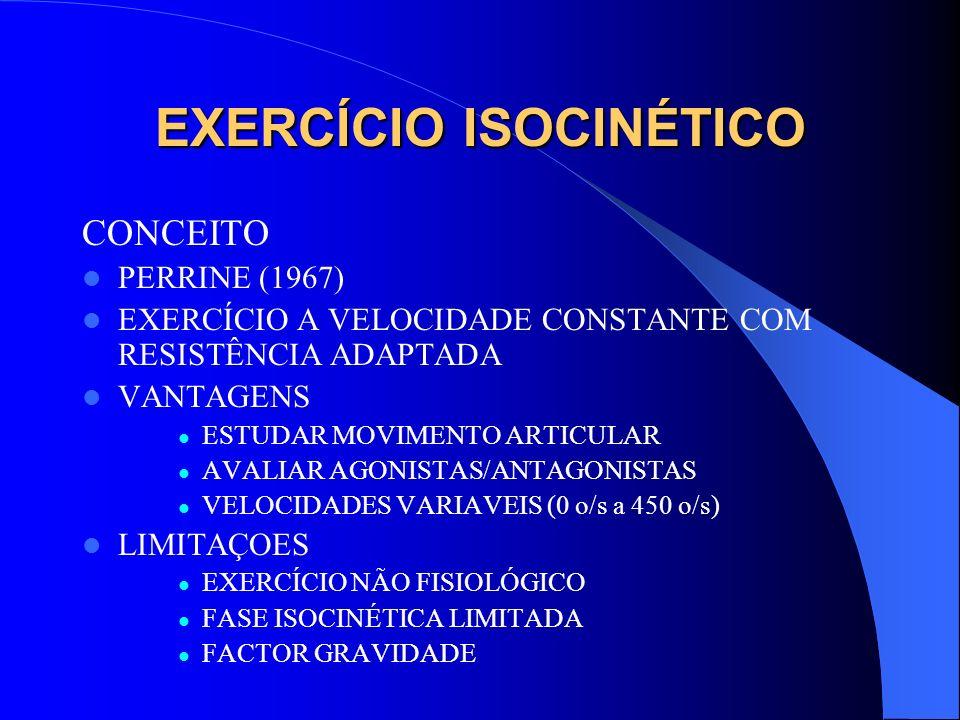 EXERCÍCIO ISOCINÉTICO CONCEITO PERRINE (1967) EXERCÍCIO A VELOCIDADE CONSTANTE COM RESISTÊNCIA ADAPTADA VANTAGENS ESTUDAR MOVIMENTO ARTICULAR AVALIAR