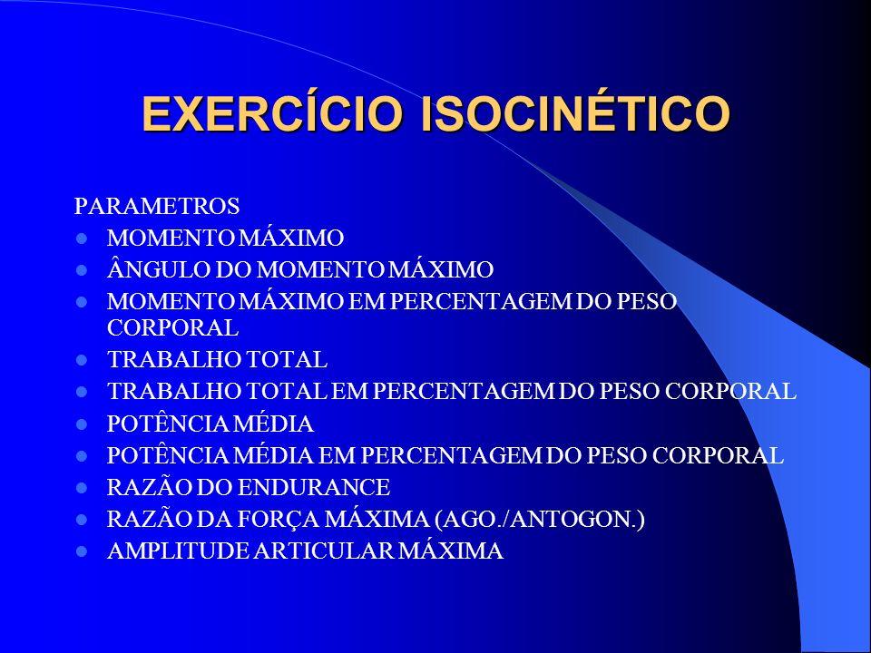 EXERCÍCIO ISOCINÉTICO PARAMETROS MOMENTO MÁXIMO ÂNGULO DO MOMENTO MÁXIMO MOMENTO MÁXIMO EM PERCENTAGEM DO PESO CORPORAL TRABALHO TOTAL TRABALHO TOTAL