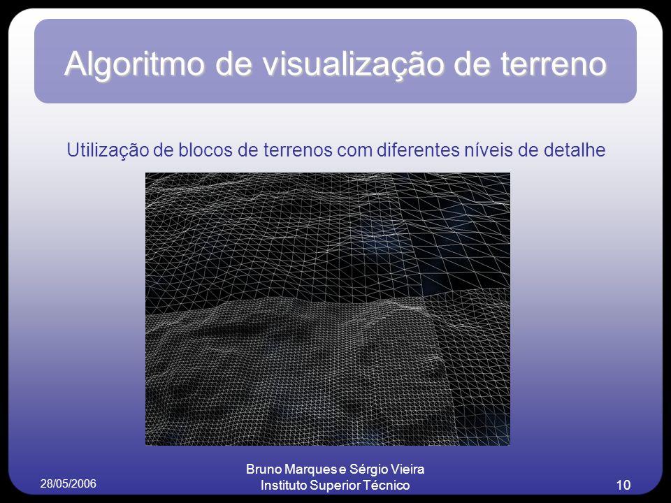 28/05/2006 Bruno Marques e Sérgio Vieira Instituto Superior Técnico10 Algoritmo de visualização de terreno Utilização de blocos de terrenos com diferentes níveis de detalhe