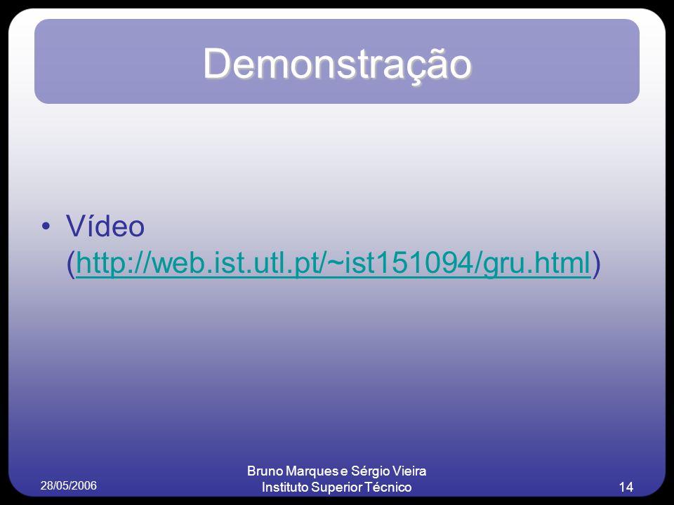28/05/2006 Bruno Marques e Sérgio Vieira Instituto Superior Técnico14 Demonstração Vídeo (http://web.ist.utl.pt/~ist151094/gru.html)http://web.ist.utl.pt/~ist151094/gru.html