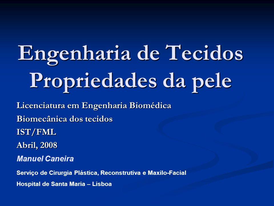 Engenharia de Tecidos Propriedades da pele Licenciatura em Engenharia Biomédica Biomecânica dos tecidos IST/FML Abril, 2008 Serviço de Cirurgia Plásti