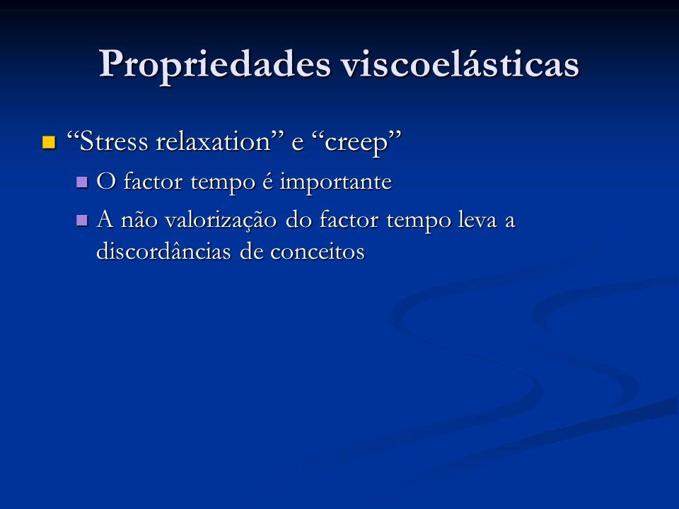Propriedades viscoelásticas Stress relaxation e creep Stress relaxation e creep O factor tempo é importante O factor tempo é importante A não valoriza