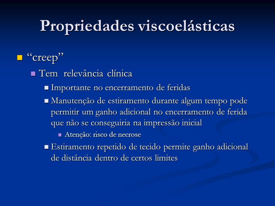 Propriedades viscoelásticas creep creep Tem relevância clínica Tem relevância clínica Importante no encerramento de feridas Importante no encerramento