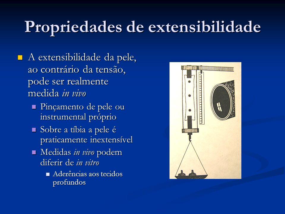 Propriedades de extensibilidade A extensibilidade da pele, ao contrário da tensão, pode ser realmente medida in vivo A extensibilidade da pele, ao con