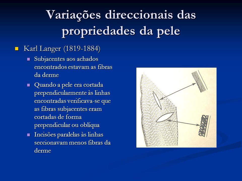 Variações direccionais das propriedades da pele Karl Langer (1819-1884) Karl Langer (1819-1884) Subjacentes aos achados encontrados estavam as fibras