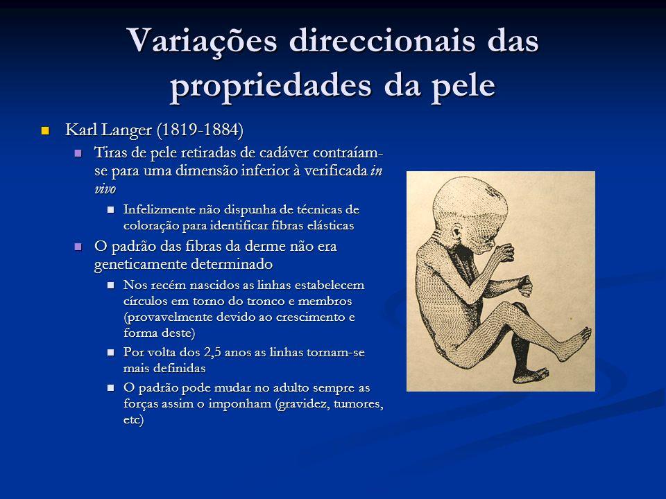 Variações direccionais das propriedades da pele Karl Langer (1819-1884) Karl Langer (1819-1884) Tiras de pele retiradas de cadáver contraíam- se para