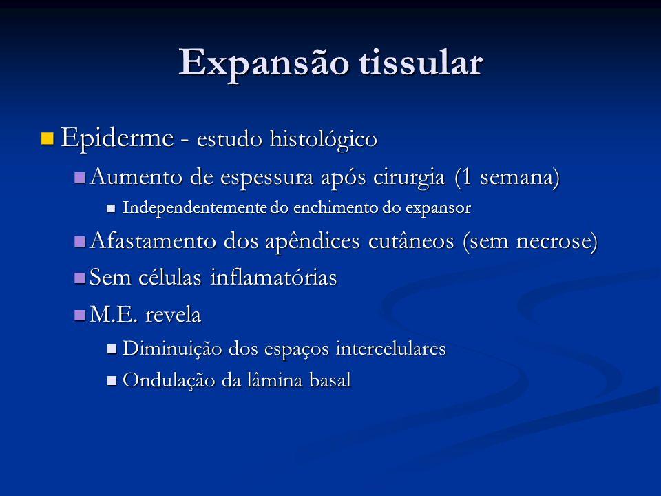Epiderme - estudo histológico Epiderme - estudo histológico Aumento de espessura após cirurgia (1 semana) Aumento de espessura após cirurgia (1 semana