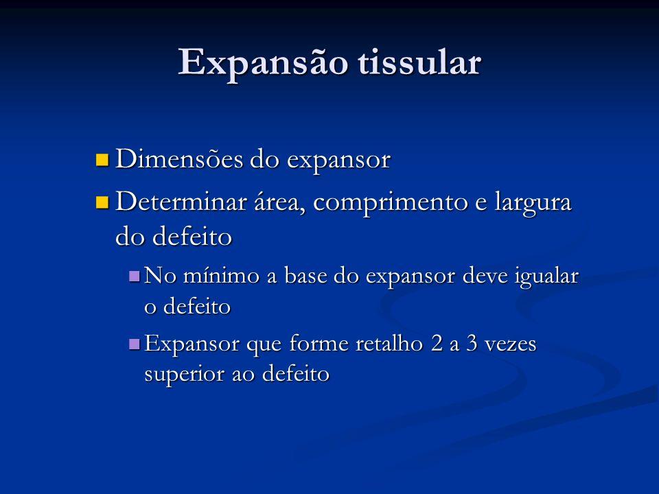Dimensões do expansor Dimensões do expansor Determinar área, comprimento e largura do defeito Determinar área, comprimento e largura do defeito No mín