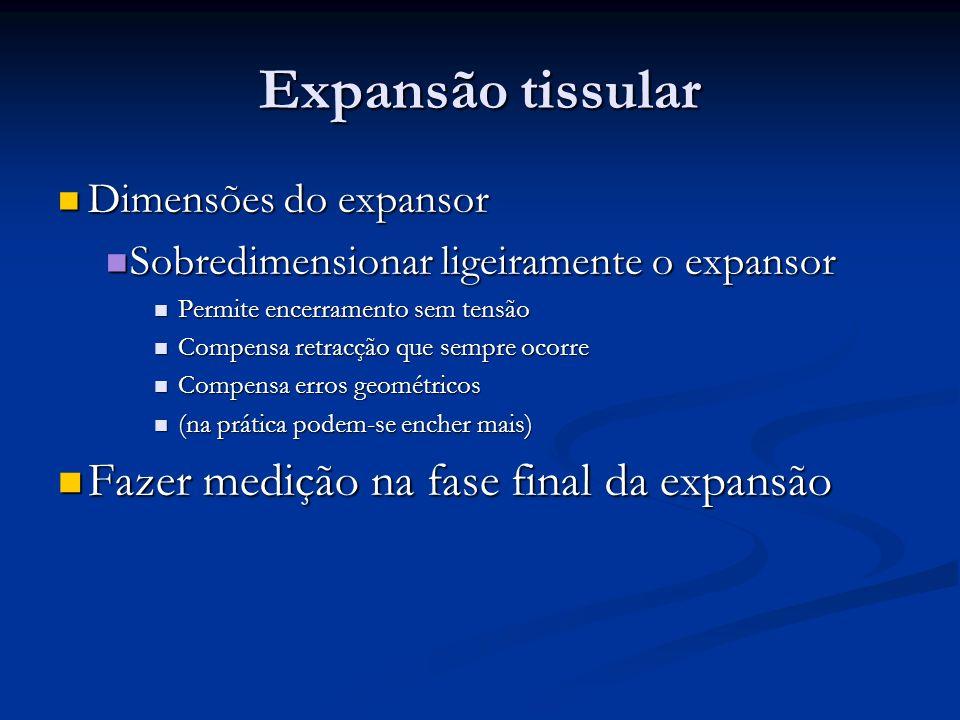 Dimensões do expansor Dimensões do expansor Sobredimensionar ligeiramente o expansor Sobredimensionar ligeiramente o expansor Permite encerramento sem