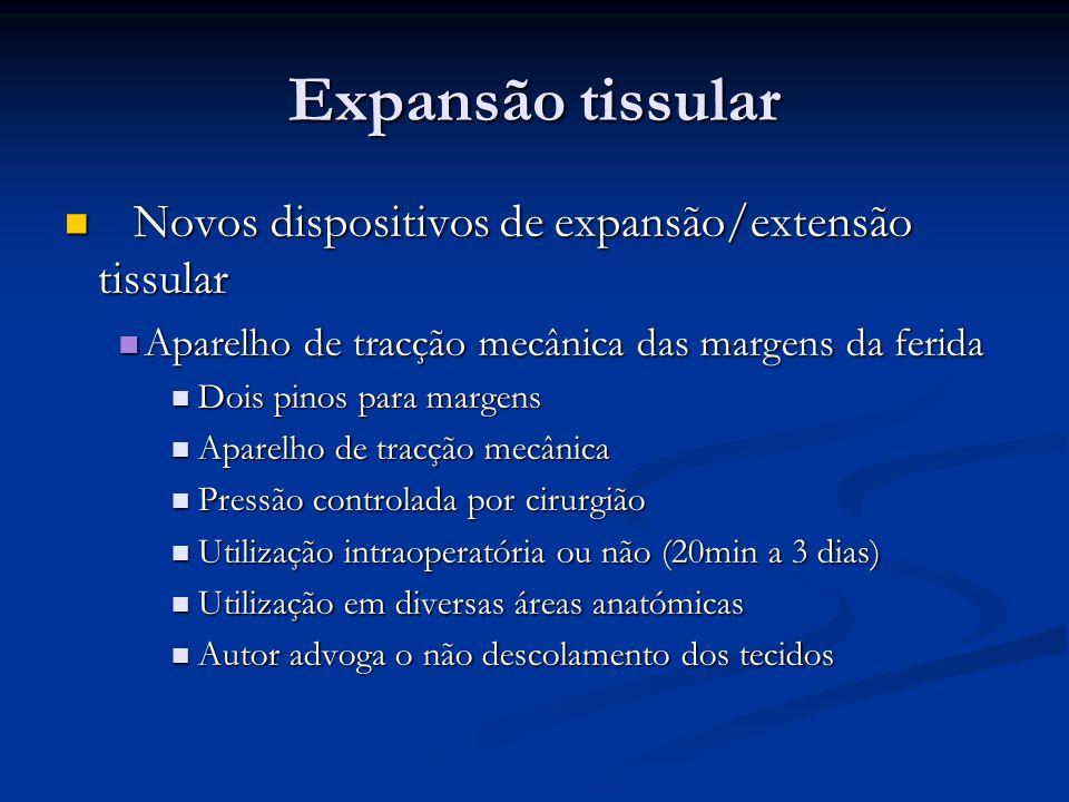 Novos dispositivos de expansão/extensão tissular Novos dispositivos de expansão/extensão tissular Aparelho de tracção mecânica das margens da ferida A