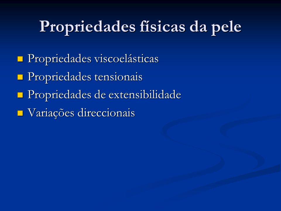 Propriedades físicas da pele Propriedades viscoelásticas Propriedades viscoelásticas Propriedades tensionais Propriedades tensionais Propriedades de e