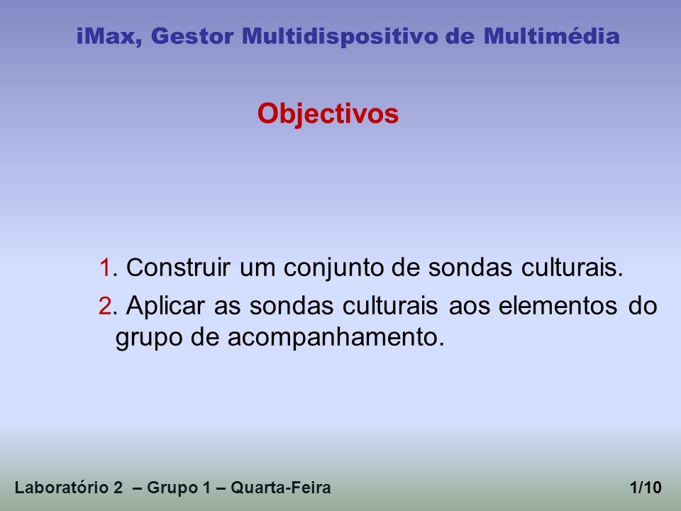 1. C onstruir um conjunto de sondas culturais. 2. Aplicar as sondas culturais aos elementos do grupo de acompanhamento. Laboratório 2 – Grupo 1 – Quar