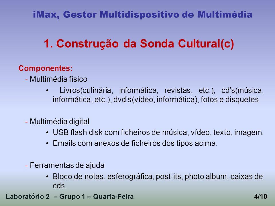 Laboratório 2 – Grupo 1 – Quarta-Feira4/10 iMax, Gestor Multidispositivo de Multimédia 1. Construção da Sonda Cultural(c) Componentes: - Multimédia fí