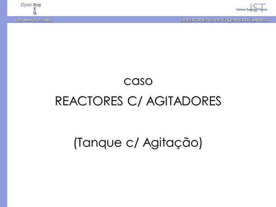 1 de Março de 2002 Departamento de Engenharia Química caso REACTORES C/ AGITADORES (Tanque c/ Agitação)