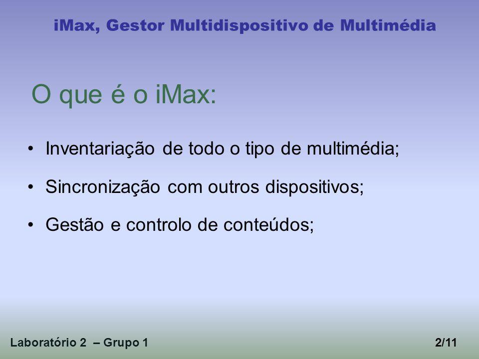 1 - Identificação dos utilizadores; 2 - Levantamento de requisitos através de: Entrevistas abertas; Sondas Culturais; Workshops; 3- Revisão e validação dos requisitos; Laboratório 2 – Grupo 1 iMax, Gestor Multidispositivo de Multimédia 3/11 Processo de desenvolvimento: