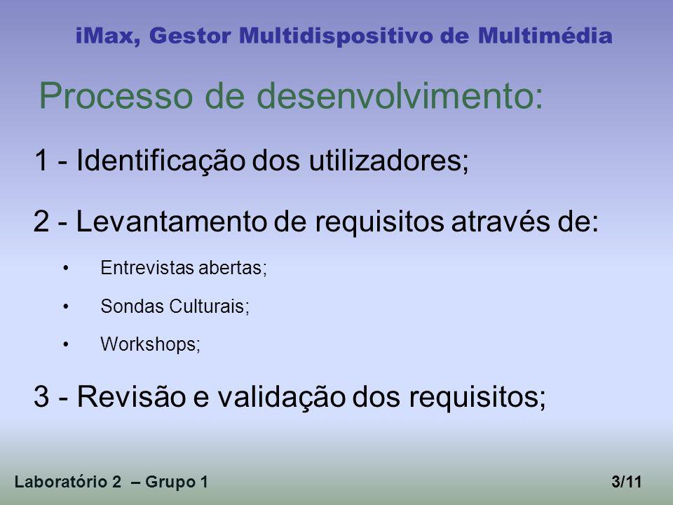 4 - Testes de usabilidade; 5 - Prototipagem: Desenvolvimento de uma funcionalidade; Validação com utilizadores; Aperfeiçoamento; Laboratório 2 – Grupo 1 iMax, Gestor Multidispositivo de Multimédia 4/11 Processo de desenvolvimento(cont.):