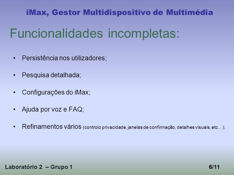Aspecto geral da aplicação iMax, Gestor Multidispositivo de Multimédia