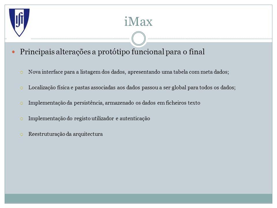 iMax Principais alterações a protótipo funcional para o final Nova interface para a listagem dos dados, apresentando uma tabela com meta dados; Locali