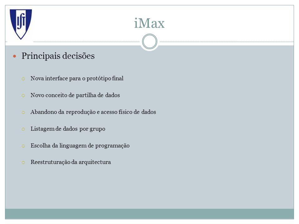 iMax Principais decisões Nova interface para o protótipo final Novo conceito de partilha de dados Abandono da reprodução e acesso físico de dados Listagem de dados por grupo Escolha da linguagem de programação Reestruturação da arquitectura
