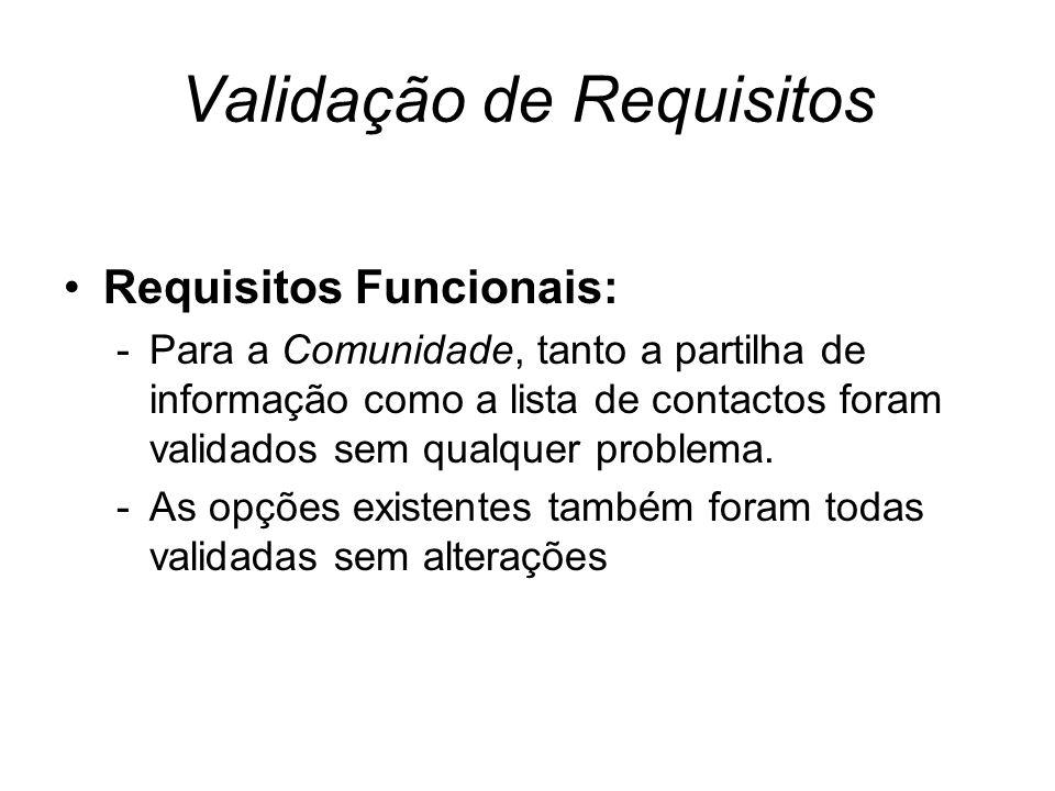 Validação de Requisitos Requisitos Funcionais: -Para a Comunidade, tanto a partilha de informação como a lista de contactos foram validados sem qualquer problema.