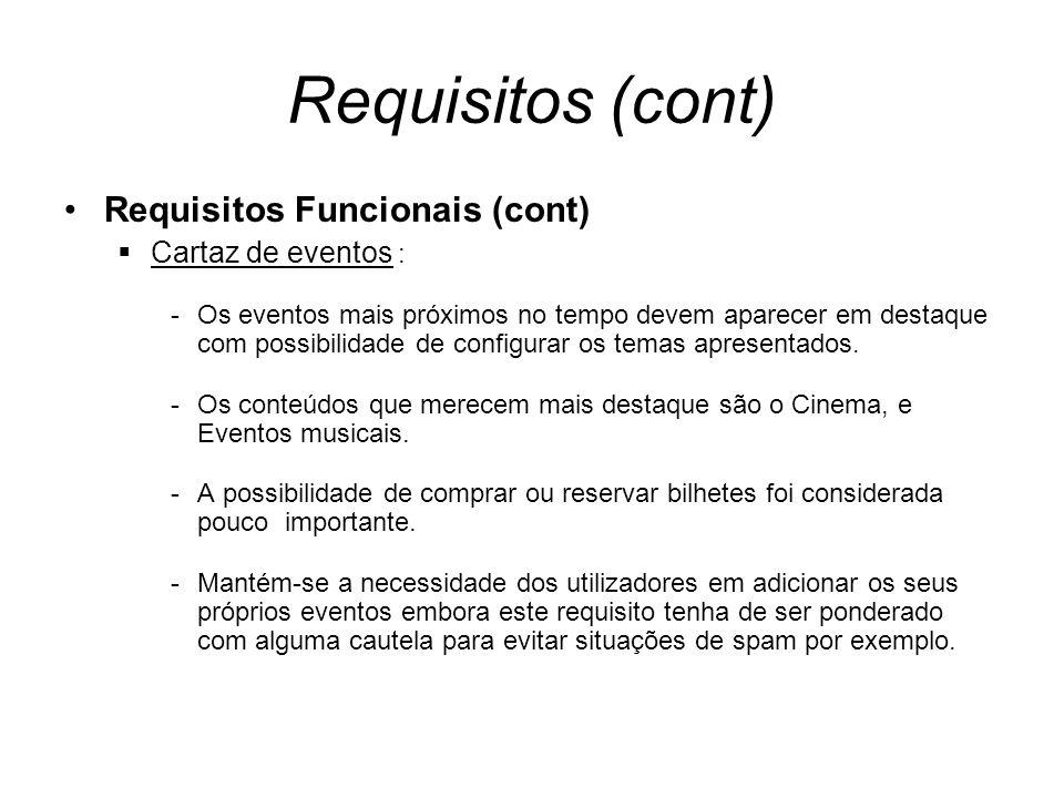 Requisitos (cont) Requisitos Funcionais (cont) Cartaz de eventos : -Os eventos mais próximos no tempo devem aparecer em destaque com possibilidade de configurar os temas apresentados.