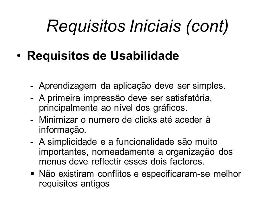 Requisitos Iniciais (cont) Requisitos de Usabilidade -Aprendizagem da aplicação deve ser simples.