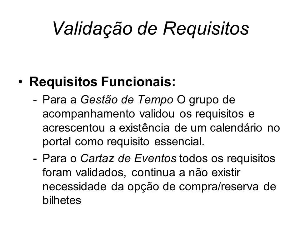 Validação de Requisitos Requisitos Funcionais: -Para a Gestão de Tempo O grupo de acompanhamento validou os requisitos e acrescentou a existência de um calendário no portal como requisito essencial.