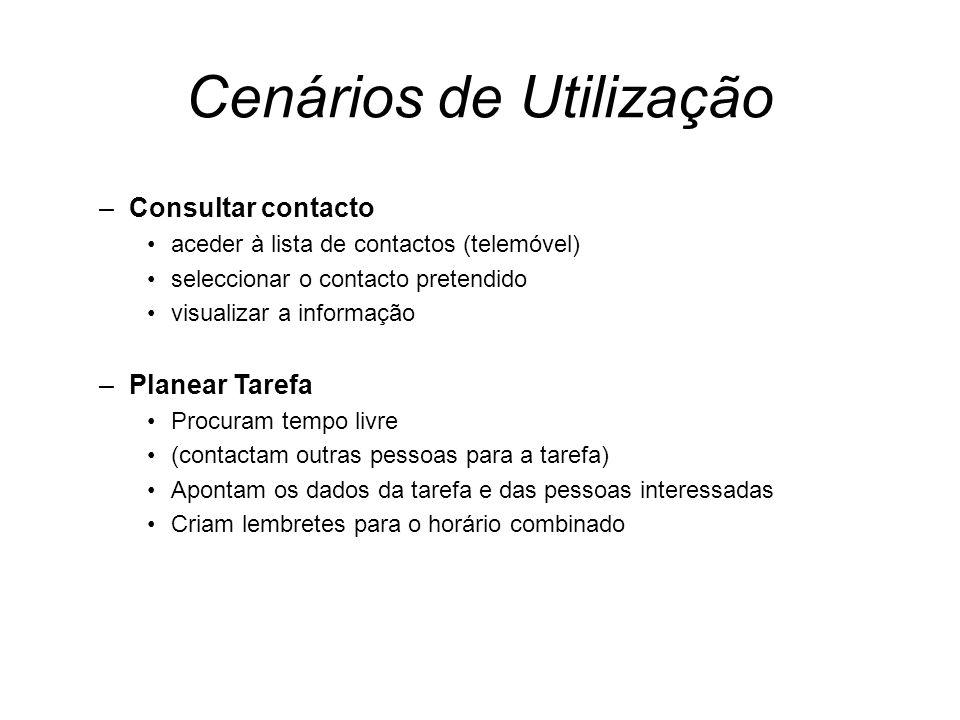 Cenários de Utilização –Consultar contacto aceder à lista de contactos (telemóvel) seleccionar o contacto pretendido visualizar a informação –Planear
