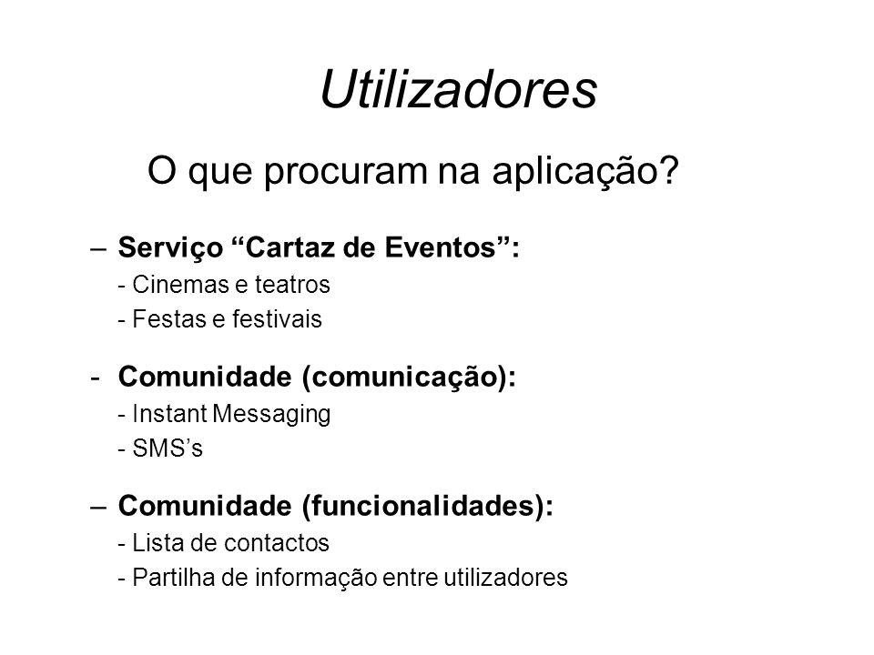Utilizadores –Serviço Cartaz de Eventos: - Cinemas e teatros - Festas e festivais -Comunidade (comunicação): - Instant Messaging - SMSs –Comunidade (f