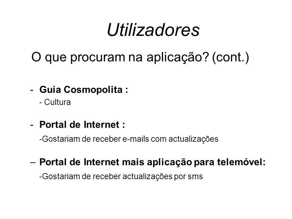 Utilizadores -Guia Cosmopolita : - Cultura -Portal de Internet : -Gostariam de receber e-mails com actualizações –Portal de Internet mais aplicação para telemóvel: -Gostariam de receber actualizações por sms O que procuram na aplicação.