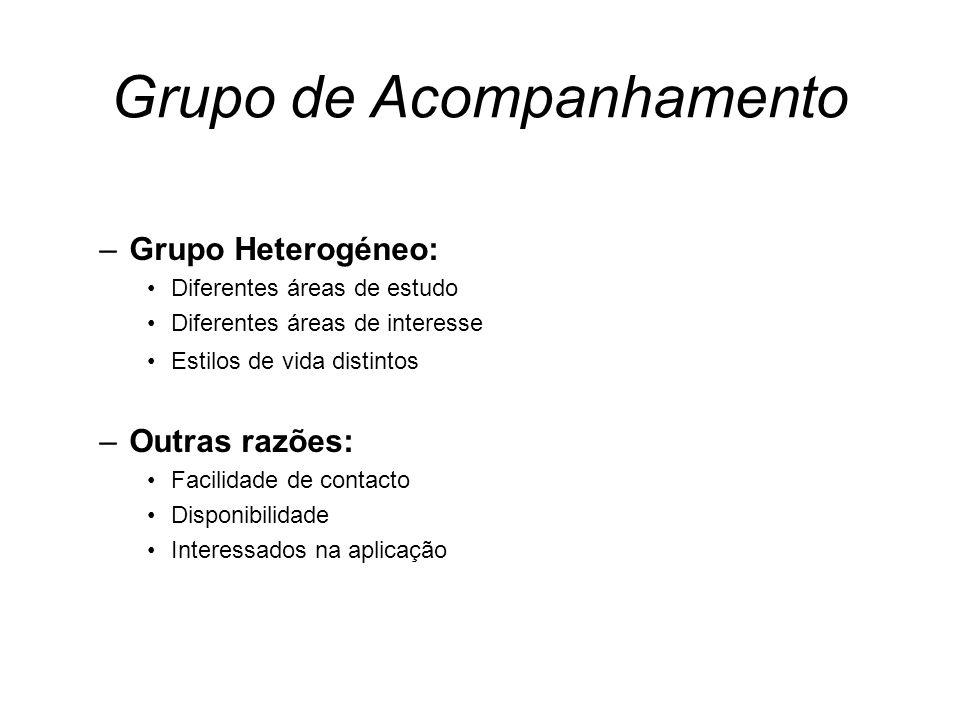Grupo de Acompanhamento –Grupo Heterogéneo: Diferentes áreas de estudo Diferentes áreas de interesse Estilos de vida distintos –Outras razões: Facilid