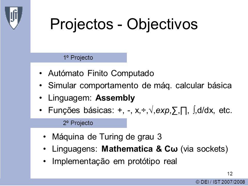 12 Projectos - Objectivos Autómato Finito Computado Simular comportamento de máq. calcular básica Linguagem: Assembly Funções básicas: +, -, x,÷,,exp,