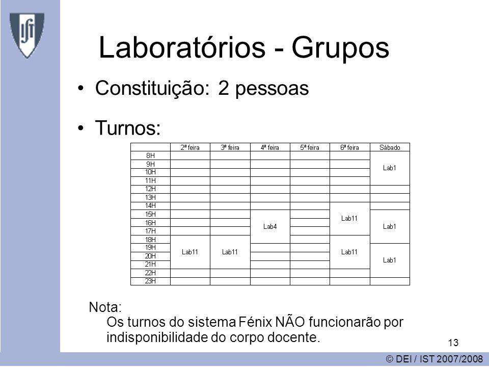 13 Laboratórios - Grupos Constituição: 2 pessoas © DEI / IST 2007/2008 Turnos: Nota: Os turnos do sistema Fénix NÃO funcionarão por indisponibilidade do corpo docente.