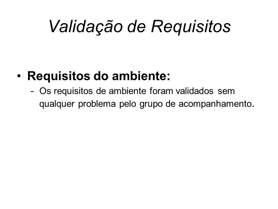 Validação de Requisitos Requisitos do ambiente: -Os requisitos de ambiente foram validados sem qualquer problema pelo grupo de acompanhamento.