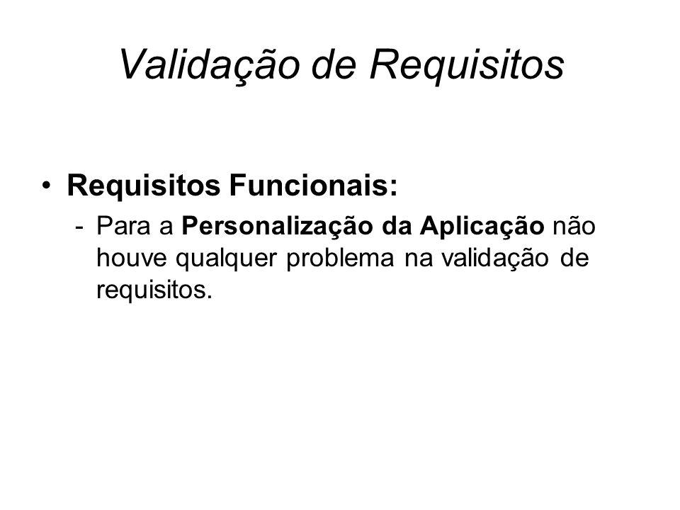Validação de Requisitos Requisitos Funcionais: -Para a Personalização da Aplicação não houve qualquer problema na validação de requisitos.