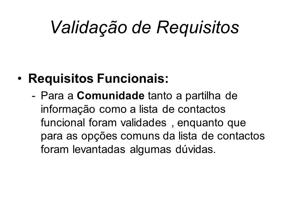 Validação de Requisitos Requisitos Funcionais: -Para a Comunidade tanto a partilha de informação como a lista de contactos funcional foram validades, enquanto que para as opções comuns da lista de contactos foram levantadas algumas dúvidas.