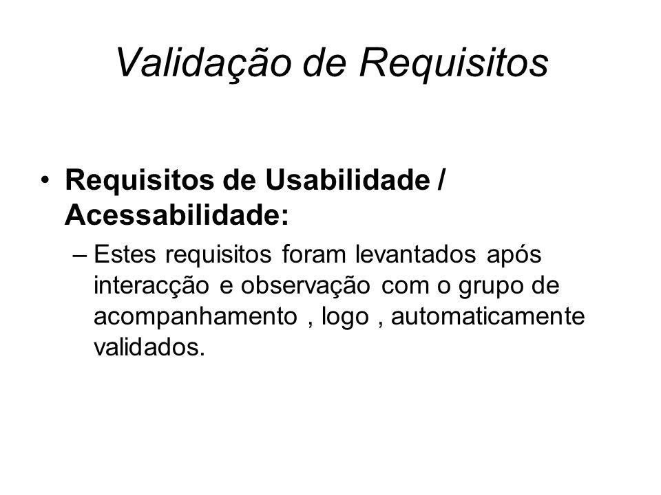 Validação de Requisitos Requisitos de Usabilidade / Acessabilidade: –Estes requisitos foram levantados após interacção e observação com o grupo de acompanhamento, logo, automaticamente validados.